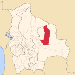 Location of Ñuflo de Chávez Province within Bolivia