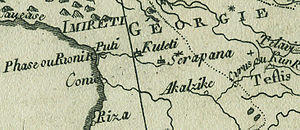 Shorapani - Detail from a map of Rigobert Bonne, published in Geneve in 1780. The detail shows Shorapani (Serapana), Georgia