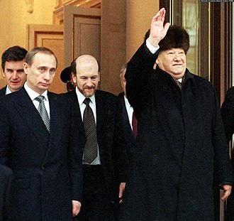 Russian presidential election, 2000 - Yeltsin on the day of his resignation, together with Putin and Alexander Voloshin