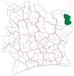 Location in Ivory Coast. Bouna Department has had these boundaries since 2011.