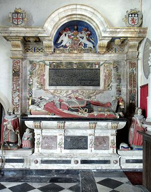 William Bourchier, 3rd Earl of Bath - Monument to William Bourchier, 3rd Earl of Bath and his wife Elizabeth Russell, St Peter's Church, Tawstock, Devon, north wall of chancel