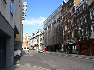 Bow Street - Bow Street looking north. The former Bow Street Magistrates' Court building is top right.