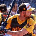 Brewers catcher Jonathan Lucroy takes batting practice on Gatorade All-Star Workout Day. (28580260611).jpg