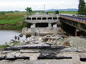 2004 Adjara crisis - Bridge over the Choloki destroyed by Abashidze's loyalists in April 2004