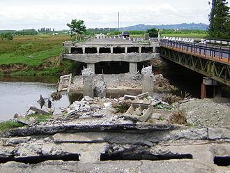 2004 Adjara crisis - Bridge over the Choloki destroyed by Abashidze's loyalists in April 2004