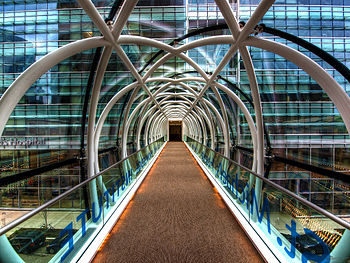English: The interior of the pedestrian bridge...