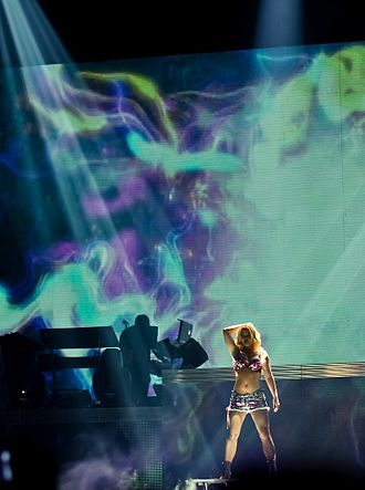 """Womanizer (song) - Spears performing """"Womanizer"""" at the Femme Fatale Tour."""