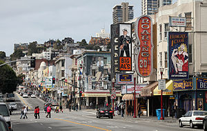 Broadway (San Francisco) - Looking west near Columbus Ave in the nightclub and red light district of Broadway