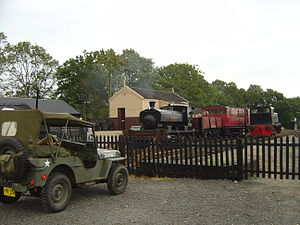 Mid-Suffolk Light Railway - American Jeep parked in Brockford Station yard