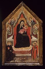 ''Virgin and Child Enthroned with Saints Benedict and Donato (?) and Four Angels''
