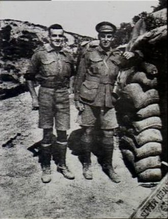 Raymond Brownell - Raymond Brownell with his brother Captain Herbert Brownell standing outside a dugout on Gallipoli.