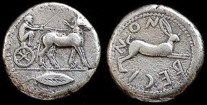 Anaxilas - Image: Bruttium Rhegion coin 478 476 BC