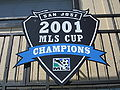 Buck Shaw Stadium 2001 MLS Cup shield.JPG