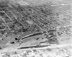 Buena Vista (Miami) - Northwestward aerial of the FEC Buena Vista yard in 1928, now the Midtown Miami development.