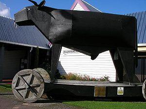 Bulls, New Zealand - Wooden bull in Bulls