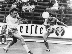 Dragan Džajić - Džajić (right) facing Sweden's Jan Olsson at the 1974 FIFA World Cup