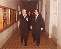Bundespräsident Rudolf Kirchschlaeger und BOKU-Rektor Manfried Welan an der Universität für Bodenkultur Wien, 6. Dezember 1978.jpg