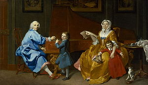 Burkat Shudi - Shudi family portrait in 1742 by Carl Marcus Tuscher. Burkhardt, Katharina, and two sons Joshua and Burkat. National Portrait Gallery