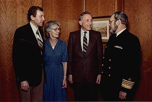 C. Everett Koop - Koop with his wife, Betty, Senator Orrin Hatch of Utah, and Secretary of Health and Human Services Richard Schweiker.