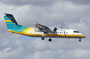 Bahamasair - A former Bombardier Dash 8-300 in the older livery introduced in the mid-80s