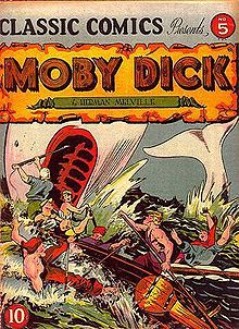 Comic book cover. Whalers attack a whale.