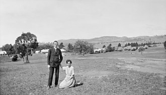 Charles Bean - Charles and Effie Bean in the grounds of Tuggeranong Station between 1919 and 1925.