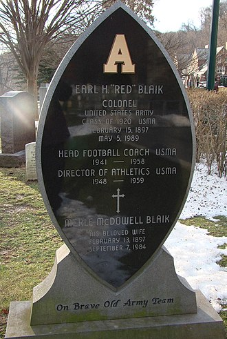 Earl Blaik - Red Blaik's tombstone at West Point
