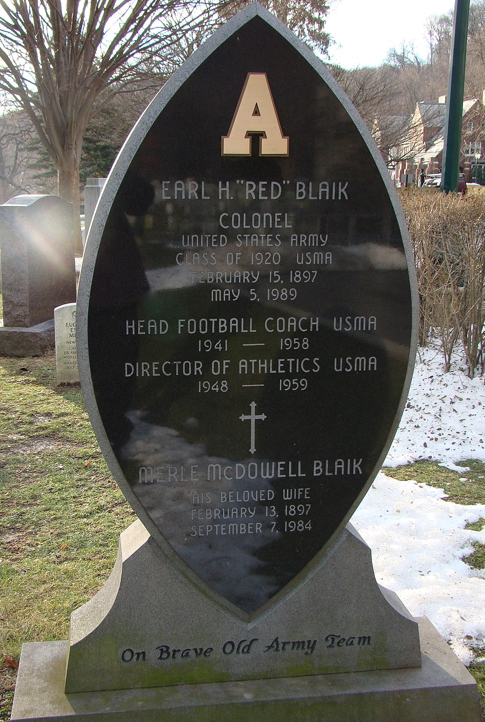 """COL Earl """"Red"""" Blaik's tombstone, West Point Cemetery"""