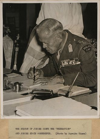 Ibrahim of Johor - The Sultan Ibrahim of Johore signs the Federation of Malaya and Johore State Agreements, 1948.