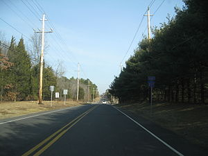 County Route 537 (New Jersey) - CR 537 eastbound on the border of Monmouth and Ocean counties
