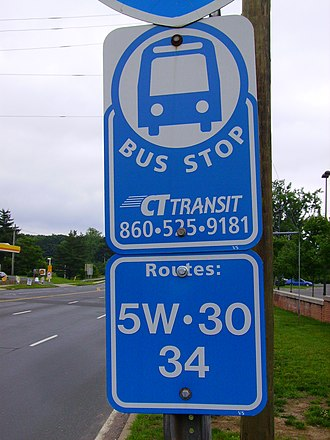 Connecticut Transit - CTtransit Bus Stop for the Hartford 5W-Windsor Locks and 30-Bradley Flyer routes.
