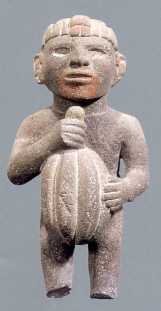Cocoa bean - Aztec sculpture with cocoa pod
