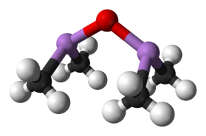Cadet's fuming liquid - Ball-and-stick model of cacodyl oxide