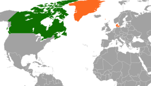 Danish Canadians - Location of Canada and Denmark.