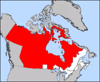 History of Northwest Territories capital cities - Canada (1870) in red and white: Manitoba is the small white box surrounded by the Territories (red).