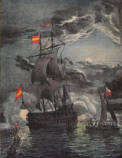 The Chilean navy led by Thomas Cochrane capturing the Spanish frigate Esmeralda on the night of 5 November 1820 Captura de La Esmeralda.JPG