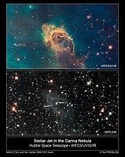Carina Nebula in Visible and Infrared