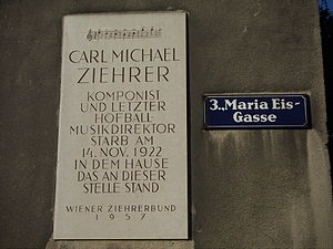 Karl Michael Ziehrer - A plaque commemorating Ziehrer. The first few bars of his best-known composition, Wiener Bürger, are inscribed at the top