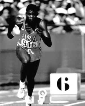 Carl Lewis - Lewis sprinting at the 1984 Olympics