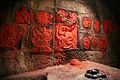 Carvings of Hanuman, Ram, and Lakshma inside the jail cell within Golconda Fort, in Hyderabad.jpg