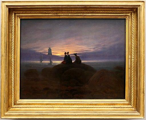 Caspar david friedrich, Mondaufgang am Meer, sorgere della luna sul mare, 1822