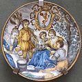 Castelli, francesco saverio di giovanni grue, piatto con paesaggio e stemma, 1740-1755 ca.JPG