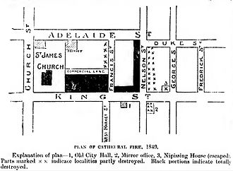 Great Fire of Toronto (1849) - Area of cathedral fire in 1849
