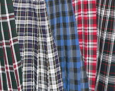 Several examples of Catholic school uniform skirts, showing the patterns.