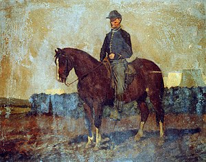 Cavalry in the American Civil War - Cavalry orderly, Rappahannock Station, Va., painting by Edwin Forbes