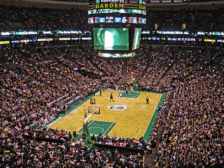 The Celtics play at the TD Garden. Celtics game versus the Timberwolves, February, 1 2009.jpg