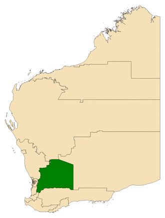 Electoral district of Central Wheatbelt - Location of Central Wheatbelt (dark green) in Western Australia