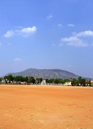 Mysore - Chamundi Hills seen from J.P.Nagar park