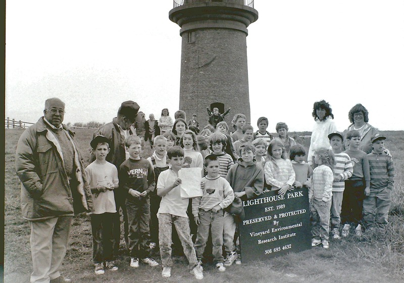 File:Charles Vanderhoop, Jr., Gay Head Light Assistant Keeper, with visiting island school children.TIFF