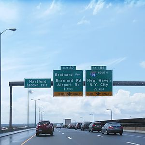 Exit numbers in the United States - An example of sequentially-numbered exits in Connecticut on the Charter Oak Bridge, CT 15/U.S. 5. (Connecticut has begun the federally-mandated conversion of mile-based exits.)